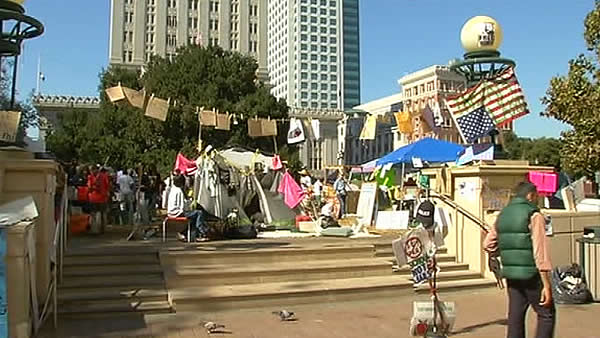 "This is an image of the ""Occupy Oakland"" encampment at Frank Ogawa Plaza days before police dismantled it on Tuesday morning."