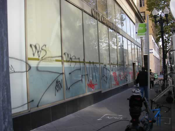 <span class=meta>(Photo of damage following to Occupy Oakland general strike in Oakland, Calif. &#40;Photo by Mimi via uReport&#41;)</span>