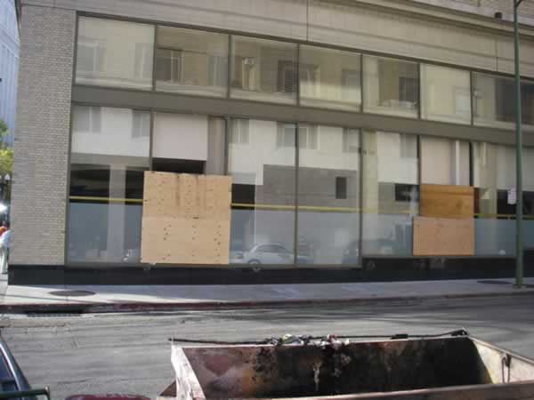 Photo of damage following to Occupy Oakland general strike in Oakland, Calif. (Photo by Mimi via uReport)