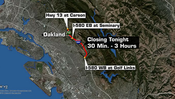 I-580 had to be closed late Friday night so that PG&E crews could fix the broken power lines.