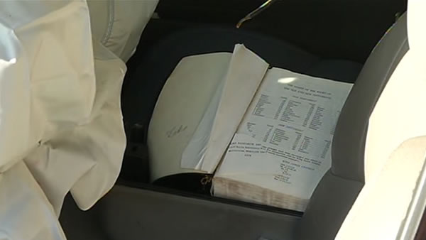 ABC7's Tomas Roman noticed a Bible was laying open in the passenger's seat.