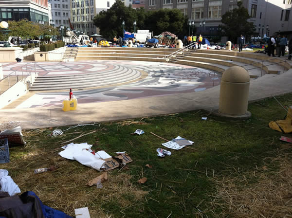"This photo was taken by ABC7's Nick Smith after police made ""Occupy Oakland"" protesters leave their encampment."