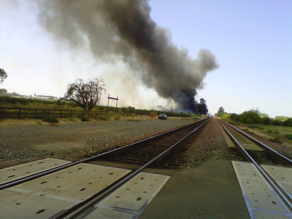 Series of small fires along railroad tracks near Oakley.  Thursday 8&#47;4&#47;2011. <span class=meta>(Photo submitted via uReport)</span>