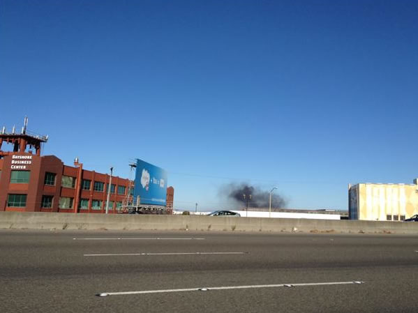 "<div class=""meta image-caption""><div class=""origin-logo origin-image ""><span></span></div><span class=""caption-text"">A visible fire could be seen burning at the Chevron Refinery in Richmond and a large black plume of smoke. Off Highway 101 there is smoke seen off Paul Avenue toward 3rd street. (Photo sent in by a viewer via uReport)</span></div>"