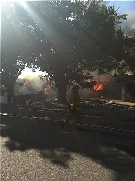 Firefighters battled a 7-alarm grass fire in Fairfield Tuesday afternoon. At least five homes were damaged. (Anonymous photo submitted via uReport)