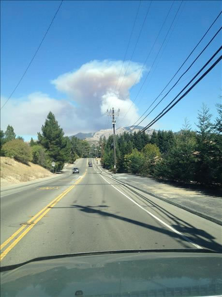Smoke from a wildfire burning on Mount Diablo was visible from several miles away. (Photo submitted via uReport)