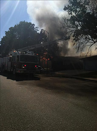 Fire truck at the scene of a 7-alarm grass fire in Fairfield. (Anonymous photo submitted via uReport)