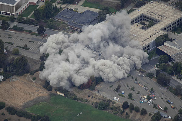 Cal State East Bay&#39;s Warren Hall implosion <span class=meta>(Courtesy: Brian Haux ? SkyHawk Photography)</span>