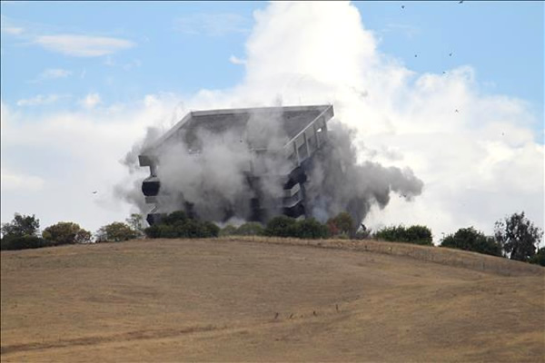 Cal State East Bay's Warren Hall implosion