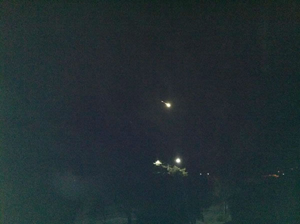 Paris Souza took this photo of the possible meteor from Santa Cruz.