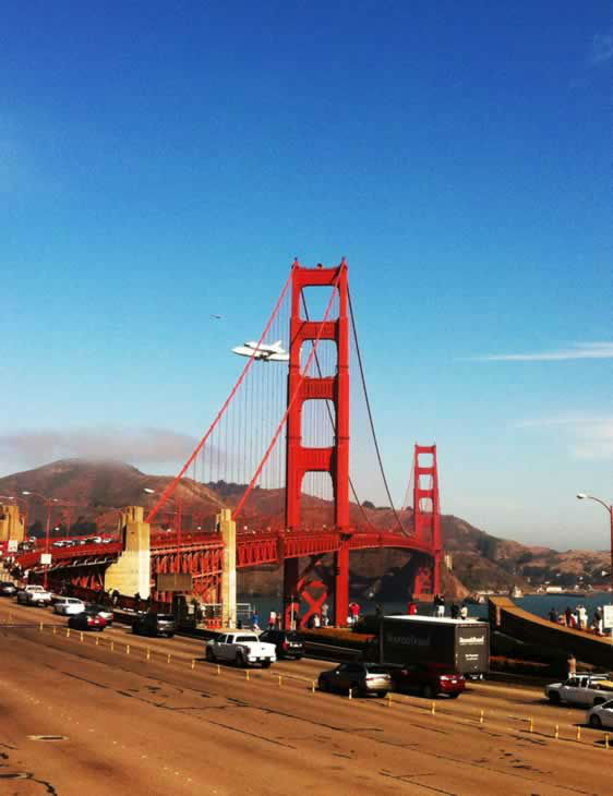 The Golden Gate Bridge directors recessed our board meeting this morning to watch the flyby from the balcony of the administration building. We were notified by the FAA of Endeavour's arrival. I took this photo as it went by. (Photo submitted by Tiffany Renee via uReport)