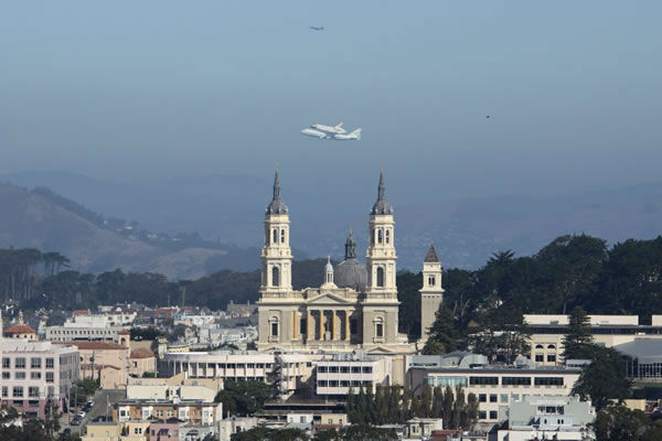 Space Suttle Endeavor and St. Ignatius church at The University of San Francisco. (Photo submitted by shawncalhoun via uReport)