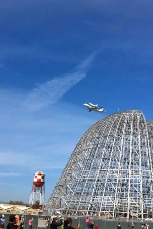 Space shuttle Endeavour made a historic fly-by over Moffett Field on its way to LA. (Photo submitted by mmendoza11 via uReport)