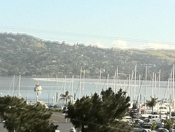 These photos were taken on Friday at 12:53 p.m. of the tsunami in Sausalito. (Photo submitted by Lisa Wilson via uReport)