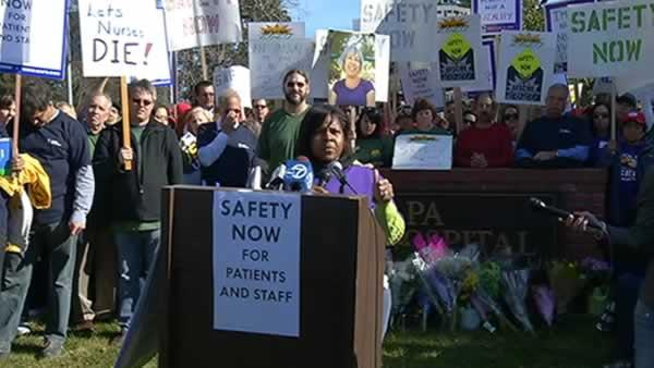 Napa State Hospital employees rally for safety