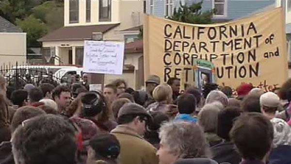 Hundreds gather to protest at San Quentin
