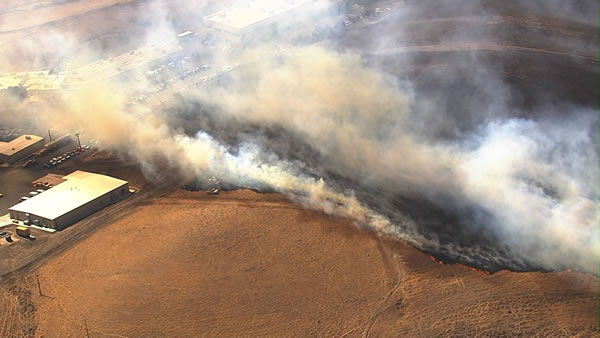 Officials have issued a smoke advisory to Bay Area residents due to smoke from an 8-alarm grass fire burning in Solano County. <span class=meta>(KGO Photo)</span>