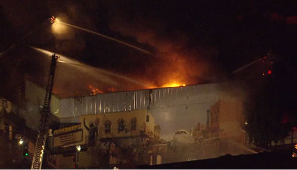 "<div class=""meta ""><span class=""caption-text "">Friday night firefighters battled a 5-alarm blaze at the Pepperbelly's comedy club in Fairfield.</span></div>"