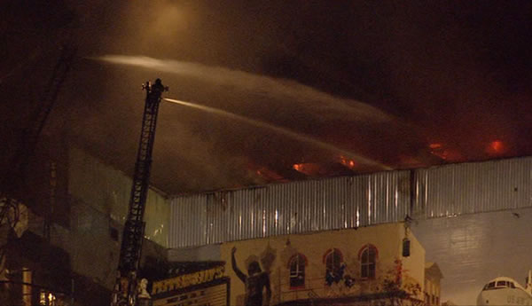 Friday night firefighters battled a 5-alarm blaze at the Pepperbelly's comedy club in Fairfield.
