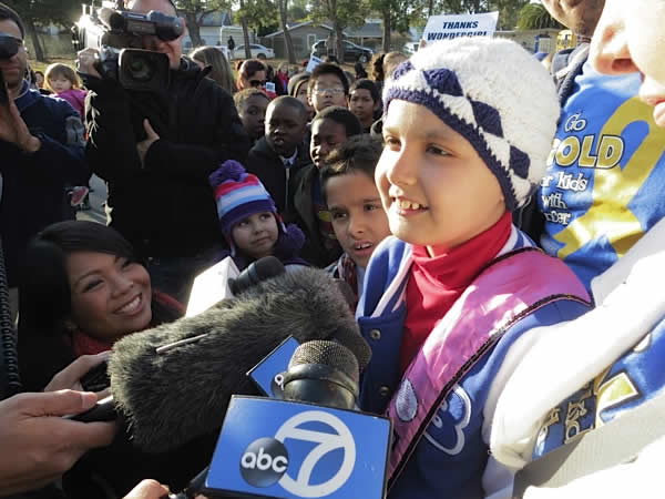 Vallejo pulled out all the stops to help a 10-year-old cancer patient become Wonder Girl for the day. (Photos by ABC7 News reporter Wayne Freedman)