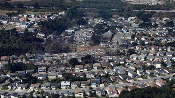 Aerial view of damage caused by a massive fire in a mostly residential neighborhood in San Bruno, Calif., Friday, Sept. 10, 2010.