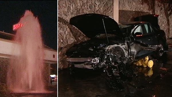 Car slams into hydrant and Safeway in Millbrae