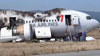 Closeup of the Asiana Airlines plane that crashed at SFO