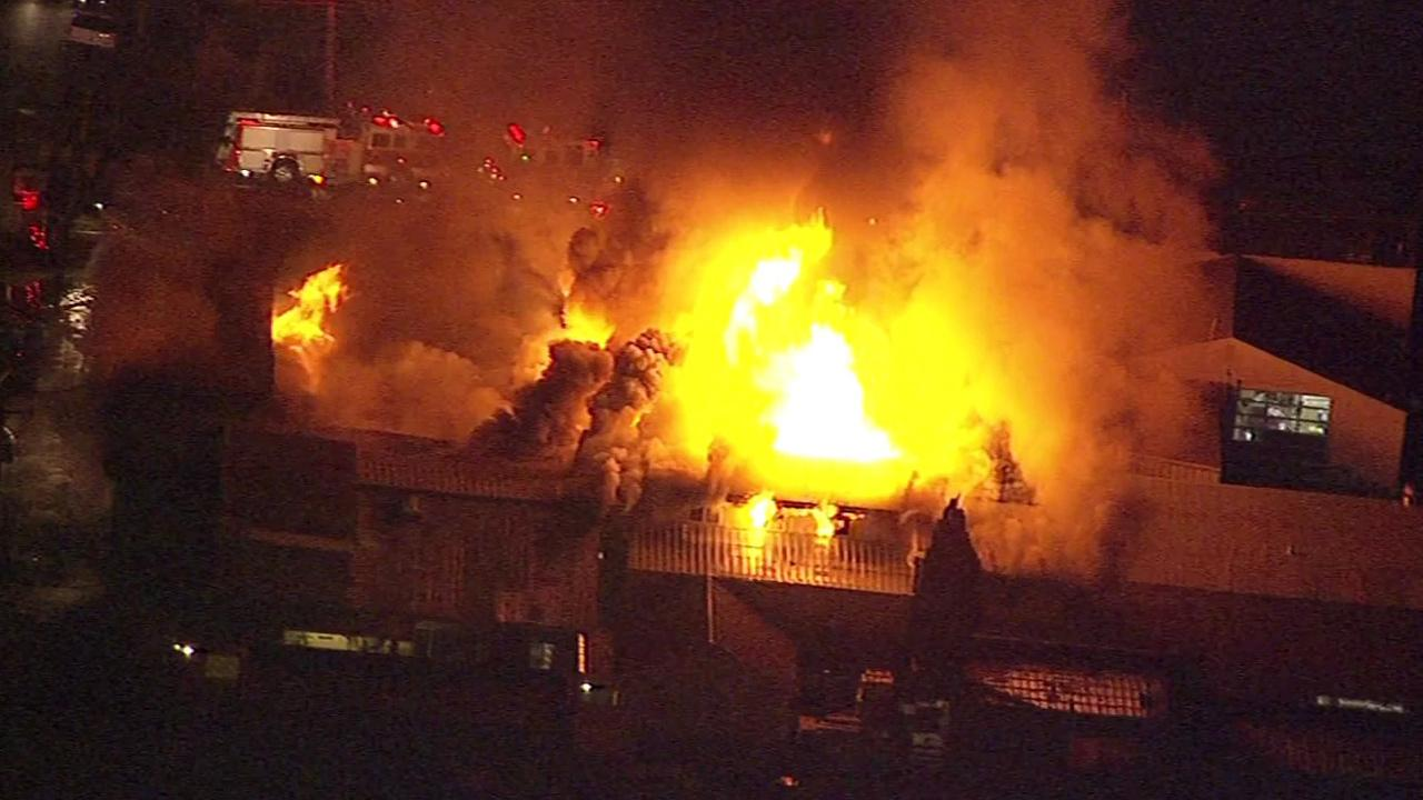 SKY7 HD over fire in Redwood City.
