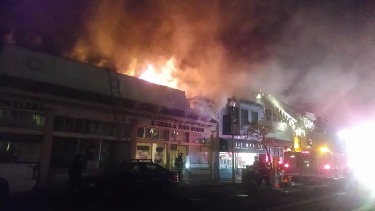 K Grill and Tofu House Restaurant on fire in San Bruno