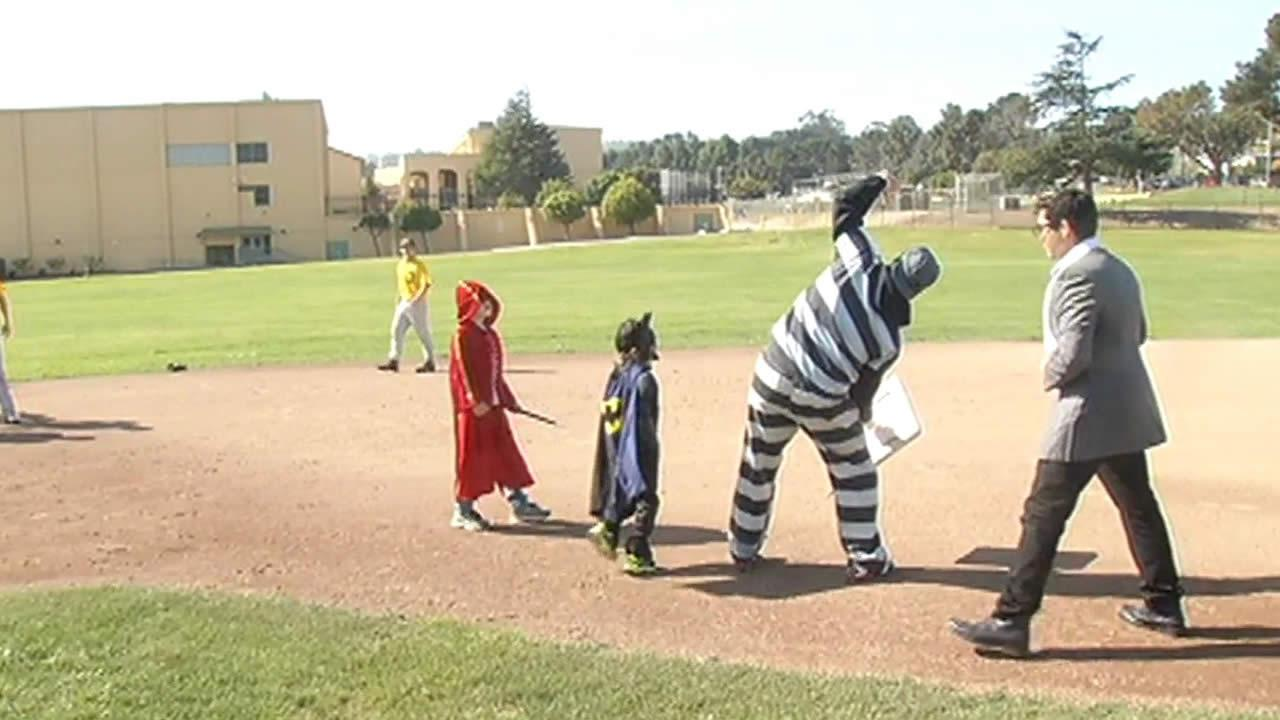 Two young boys took a break from fighting cancer to take part in an event in San Bruno that was inspired by San Franciscos Batkid celebration.