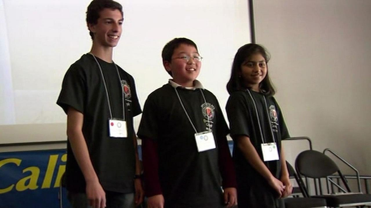 Tuvya Bergson-Michelson of San Carlos, Tyler Derrico of Castro Valley and Rhea Mitr of Dublin in the 2014 California National Geographic Bee.