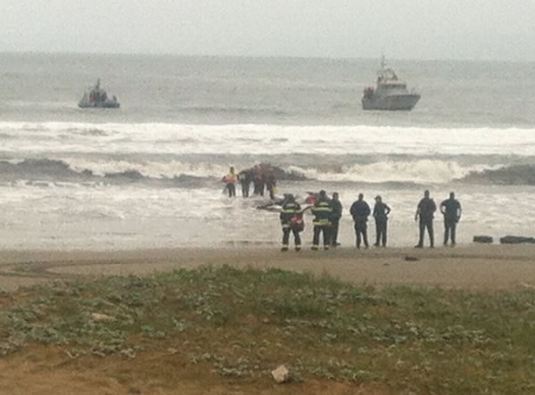 "<div class=""meta image-caption""><div class=""origin-logo origin-image ""><span></span></div><span class=""caption-text"">Three suspects have been arrested after a stolen 82-foot sailboat ran aground at Linda Mar Beach in Pacifica. Two men and a woman were onboard the $2.7 million ""Darling"" when it was reported stolen from the Sausalito Yacht Harbor. (KGO)</span></div>"