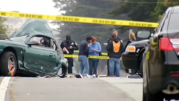The crash happened on Hillside Boulevard in Colma at 7:30 a.m.  Three were  pronounced dead at the scene. The San Mateo Coroner&#39;s Office released the names as Rosa Maria Falla, 23, Jonathan Jade Moulton, 21, and Ruvin Abel Vazquez, 22. <span class=meta>(KGO)</span>