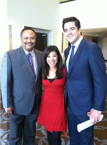 ABC7 Morning News anchors Eric Thomas and Kristen Sze with Good Morning America's Josh Elliott at Gatepath's Power of Possibilities event.