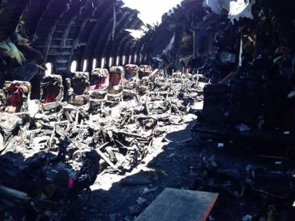 Photo of charred cabin interior of Asiana flight 214. <span class=meta>(NTSB&#47;Twitter)</span>