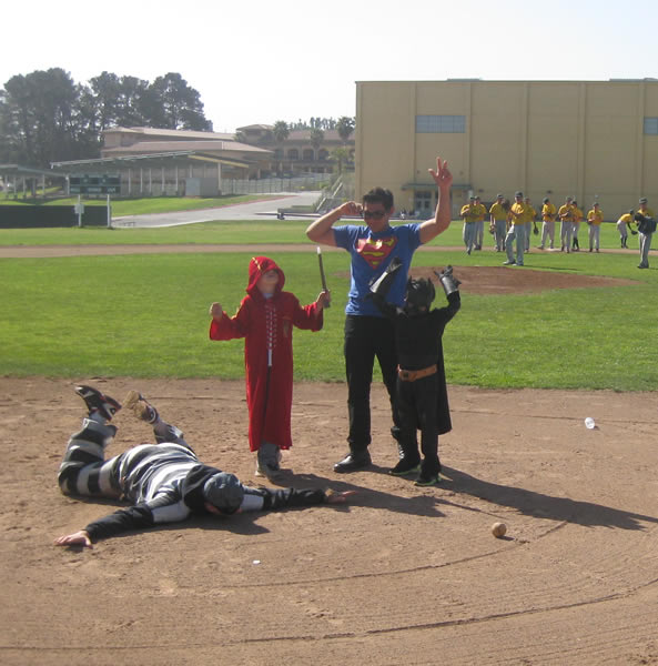 "<div class=""meta ""><span class=""caption-text "">Two young boys took a break from fighting cancer to take part in an event in San Bruno that was inspired by San Francisco's Batkid celebration. (Photo courtesy Ken Ibarra)</span></div>"