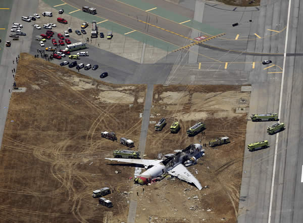 This aerial photo shows the wreckage of the Asiana Flight 214 airplane after it crashed at the San Francisco International Airport in San Francisco, Saturday, July 6, 2013