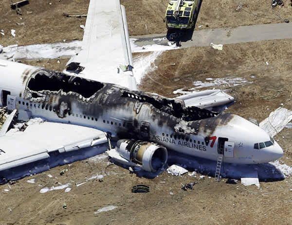This aerial photo shows the wreckage of the Asiana Flight 214 airplane after it crashed at the San Francisco International Airport in San Francisco