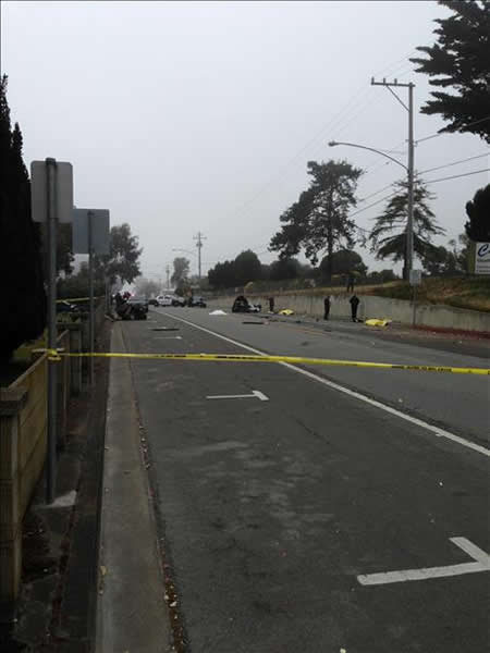 The crash happened on Hillside Boulevard in Colma at 7:30 a.m.  Three were  pronounced dead at the scene.  Photo submitted via uReport. <span class=meta>(KGO)</span>