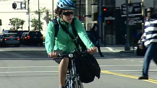 Bicyclists flooded the front steps of City Hall wearing sunglasses  and smiles while seven members of the Board of Supervisors, staff from the  citys Municipal Transportation Agency and other locals talked how about  thrilling it is to ride their bikes. (ABC7 Photo)