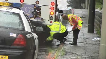 A pedestrian was seriously injured after being hit by a Muni bus he was trying to catch.