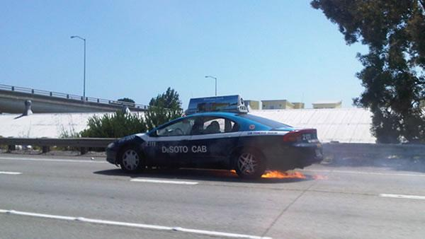 A taxi passenger was killed in a fiery crash on an I-280 off-ramp in San Francisco.