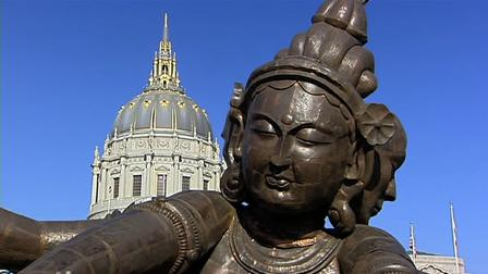The giant Buddha statue in San Franciscos Civic Center Plaza is already the target of vandals.