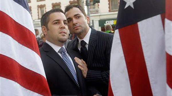 Plaintiffs Jeffrey Zarrillo, left, and Paul Katami are seen outside of the courthouse before a hearing in the Ninth Circuit Court of Appeals, Monday, Dec. 6, 2010, in San Francisco.