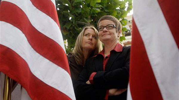 Plaintiffs Sandy Stier, left, and Kris Perry are seen outside of the courthouse before a hearing in the Ninth Circuit Court of Appeals, Monday, Dec. 6, 2010, in San Francisco.