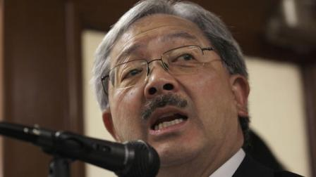 San Francisco interim mayor Ed Lee speaks at a news conference after filing papers to run for a four-year term as mayor at City Hall in San Francisco, Monday, Aug. 8, 2011.