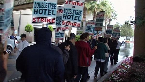 Hotel workers walk picket lines in San Jose