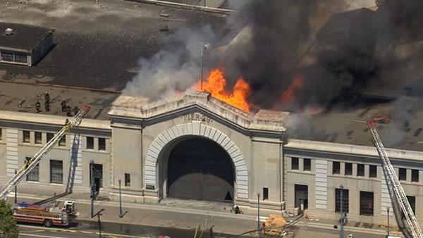 Four-alarm fire damages Pier 29 in San Francisco