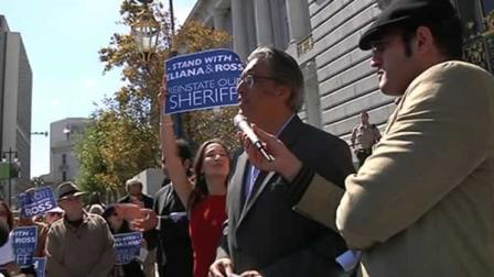Suspended San Francisco Sheriff Ross Mirkarimi was out rallying supporters Monday.