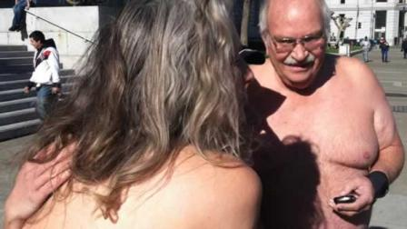 Nudity ban protesters strip despite cold weather